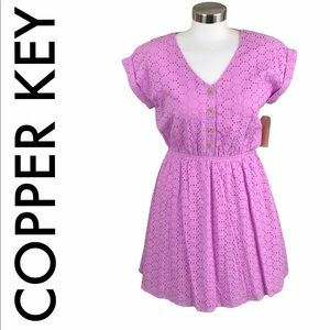 COPPER KEY NWT LAVENDER EYELET DRESS SIZE SMALL